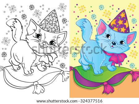 Coloring book or cartoon Illustration of cat in Christmas cap for children