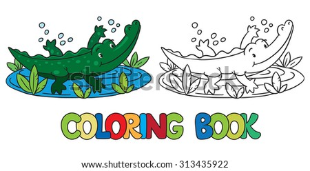 Coloring book or coloring picture of little funny alligator or crocodile swims in the lake