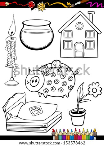 Coloring Book or Page Cartoon Illustration of Black and White Home Objects Set for Children Education - stock vector