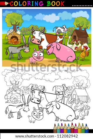 Coloring Book or Page Cartoon Illustration of Funny Farm and Livestock Animals for Children Education - stock vector