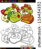Coloring Book or Page Cartoon Illustration of Funny Food Characters Apples and Pie Cakes for Children Education - stock