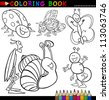 Coloring Book or Page Cartoon Illustration of Funny Insects and Bugs for Children - stock photo