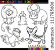 Coloring Book or Page Cartoon Illustration of Funny Wild and Safari Animals for Children - stock photo