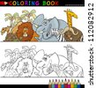 Coloring Book or Page Cartoon Illustration of Funny Wild and Safari Animals for Children Education - stock vector