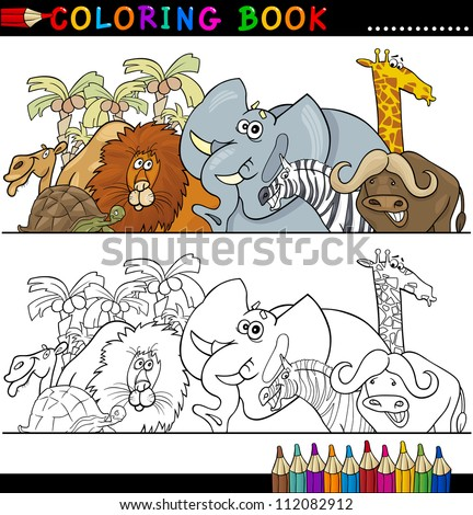 Coloring Book Page Cartoon Illustration Funny Stock Vector ...