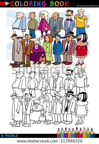 Coloring Book or Page Cartoon Illustration of People Group Staying in Queue - stock vector