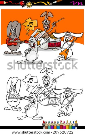 Coloring Book or Page Cartoon Vector Illustration of Black and White Funny Rabbits Band Playing Rock Music Concert Group for Children - stock vector