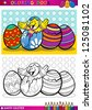 Coloring Book or Page Cartoon Vector Illustration of Easter Little Chick or Chicken hatched from Egg and Painted Easter Eggs - stock vector