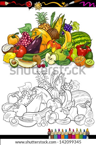 Coloring Book Or Page Cartoon Vector Illustration Of Fruits And Vegetables Big Food Group For Children