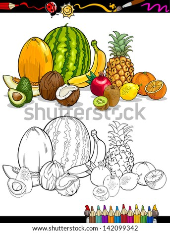 Coloring Book or Page Cartoon Vector Illustration of Tropical Fruits Food Group for Children Education