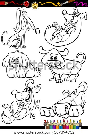 Coloring Book or Page Cartoon Vector Illustration Set of Black and White Dogs and Puppies Characters for Children