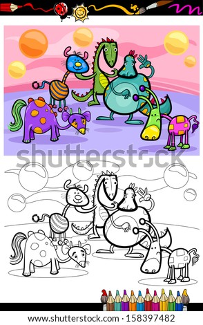 Coloring Book or Page Cartoon Vector Illustrations of Fantasy Creatures Comic Mascot Characters Group for Children - stock vector