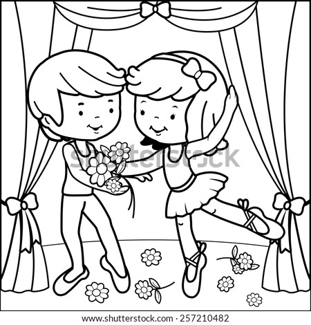 Coloring book page ballerina girl and boy dancing on stage. Black and white outline image of two ballet dancers, a girl and a boy dancing on stage holding flowers.  - stock vector