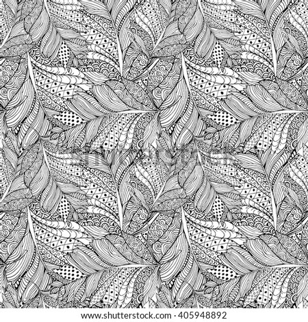 Coloring book page design with Feather Pattern. Ethnic ornament. Vector illustration with Feather in zentangle style. Headwear or neckwear Pattern design. Fashion Bird Feather Pattern