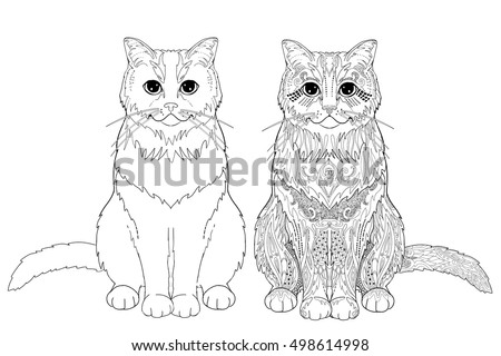 Coloring Book Page Doodle And Outline Cat Decorative Ornamental Animal For Printing On T