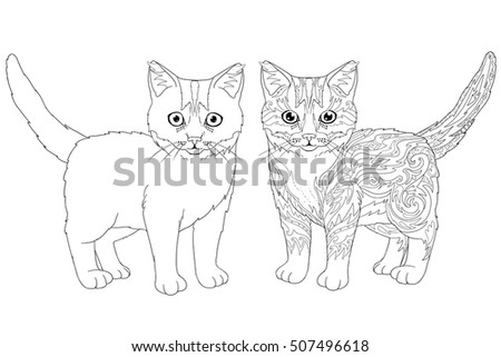 Coloring Book Page Doodle And Outline Kitten Decorative Ornamental Cat For Printing On T