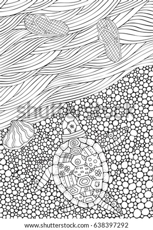 Coloring Book Page For Adult And Children Turtle Crawls To The Water Sea Waves