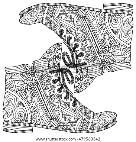 Coloring book page for adult anti stress. Hippie sneakers in zentangle style. Indian ornament. Fashion shoes. Boho.