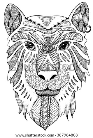 Coloring Book Page For Adults Tiger Ethnic Anti Stress Pattern Of Totem Animal In