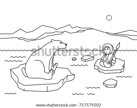 Coloring Book Page For Children Cartoon Polar Animals And People Funny Flat Character Eskimo