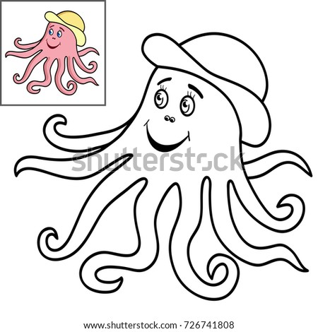 Coloring Book Page For KidsCute Cartoon Fish Pink Octopus Vector Illustration
