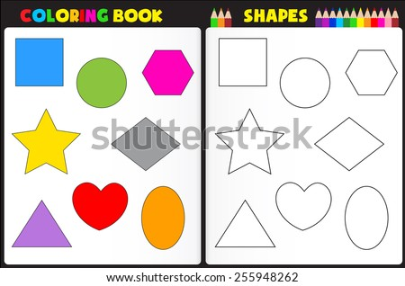 Coloring Book Page Kids Colorful Shapes Stock Vector (Royalty Free ...