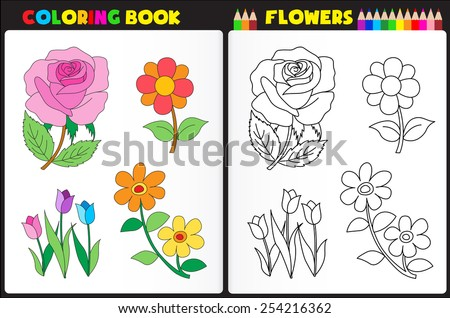 coloring book page for preschool children with colorful flowers and sketches to color - Preschool Coloring Book