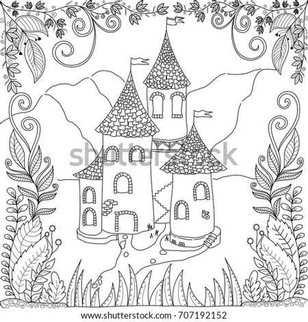 Coloring Book Page Castle Jungle Adult Stock Vector (Royalty Free ...