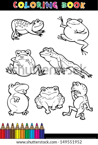 Coloring book page or coloring black and white cartoon of a frog.
