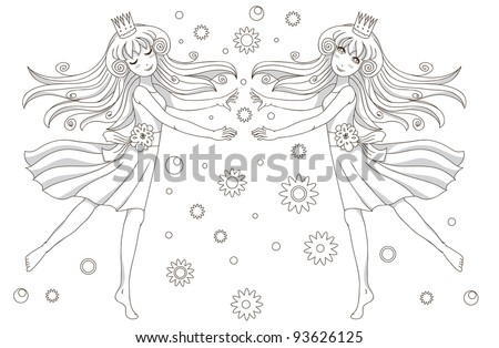 Coloring book page – 2 princesses - stock vector