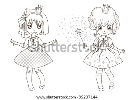Coloring  book page – princesses 1 Fairy tale princesses for coloring  - outline - stock vector