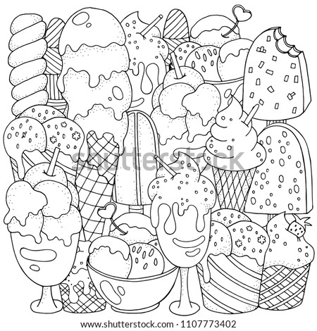 Coloring Book Page Set Of Vector Sketches Ice Cream In Wafer Cone And Bowl