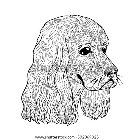Coloring book page spaniel head adults stock vector - Dessin de cocker ...