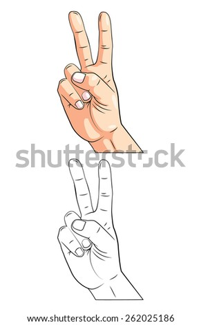 Coloring book Peace Hand cartoon character - stock vector