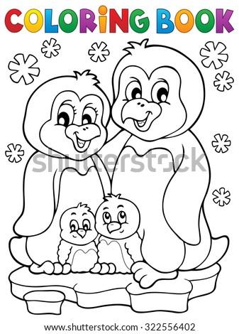 Coloring book penguin family theme 1 - eps10 vector illustration. - stock vector