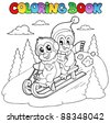 Coloring book penguins sledging - vector illustration. - stock photo