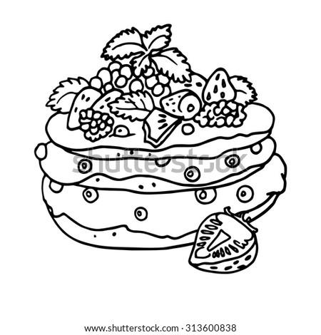 Coloring Book Pie Hand Drawn Vector