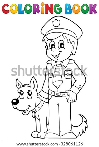 Coloring book policeman with guard dog - eps10 vector illustration. - stock vector