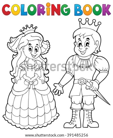 Coloring book princess and prince - eps10 vector illustration. - stock vector