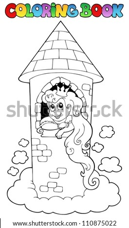 Coloring book princess theme 1 - vector illustration. - stock vector