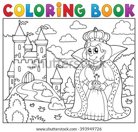 Coloring book queen near castle - eps10 vector illustration. - stock vector