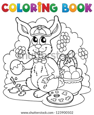 Coloring book rabbit theme 3 - vector illustration. - stock vector