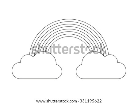 Coloring book - rainbow from cloud to cloud (rainbow from out to in - red, orange, yellow, green, blue, indigo, violet) - stock vector