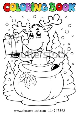 Coloring book reindeer theme 2 - vector illustration. - stock vector