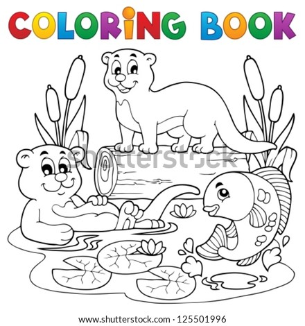Coloring book river fauna image 3 - vector illustration. - stock vector