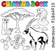 Coloring book savannah animals 1 - vector illustration. - stock vector
