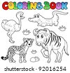 Coloring book savannah animals 2 - vector illustration. - stock vector