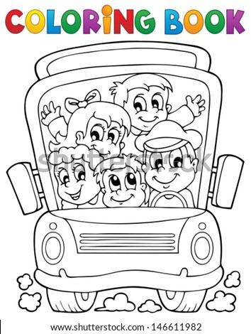 Coloring book school bus theme 1 - eps10 vector illustration. - stock vector