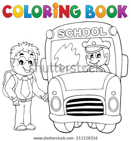 Coloring book school bus theme 4 - eps10 vector illustration. - stock vector