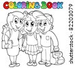 Coloring book school cartoons 6 - vector illustration. - stock photo